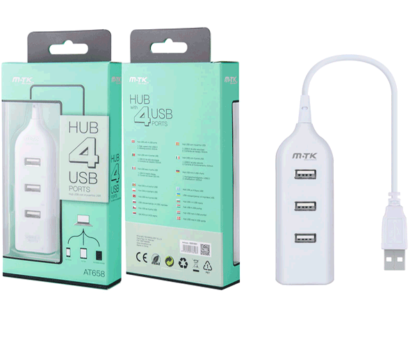 HUB 4 PUERTOS USB 2.0 BLANCO AT658 MTK