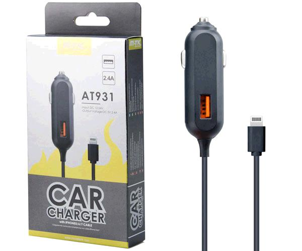 CARGADOR MECHERO IPHONE 5/6/7 + USB MIMO AT931 NEGRO