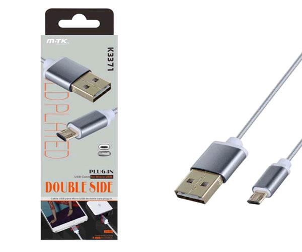 CABLE DATOS K3371 USB A MICRO USB ORO REVERSIBLE 1M GRIS