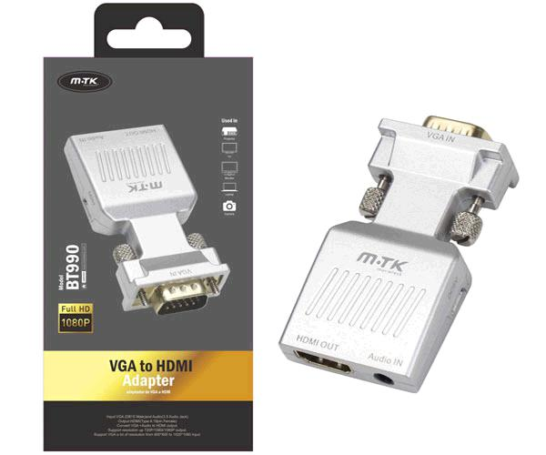 Adaptador VGA a HDMI + audio / bt990 / plata