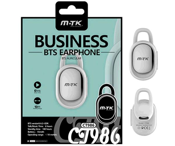 AURICULAR BLUETOOTH LOCK CT986 / FUNCION RELLAMADA BLANCO MTK