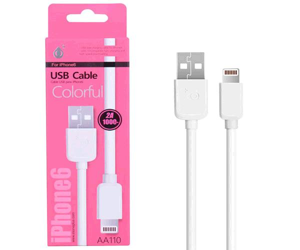 Cable datos iPhone 5/6/7/8/X/Xs/Xr aa110 / 1m / Blanco / One+