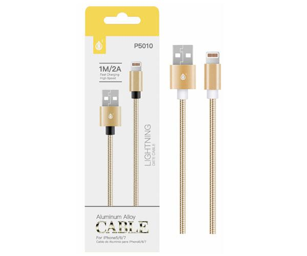 Cable datos iPhone 5/6/7 aluminio p5010 1m  2a oro ONE+