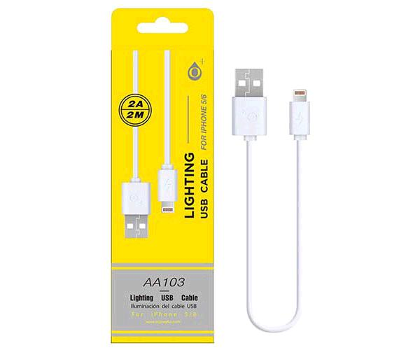 Cable datos iPhone 5/6/7/8/X/Xs/Xr alta calidad 2m ONE+  aa103  blanco