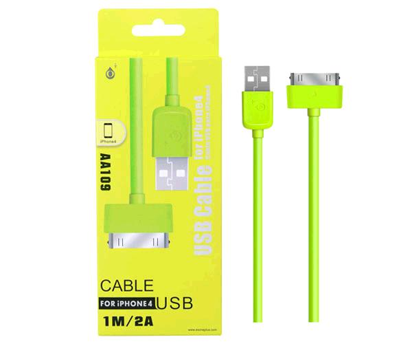 Cable datos iPhone 4/4s alta calidad 1m aa109 Verde ONE+