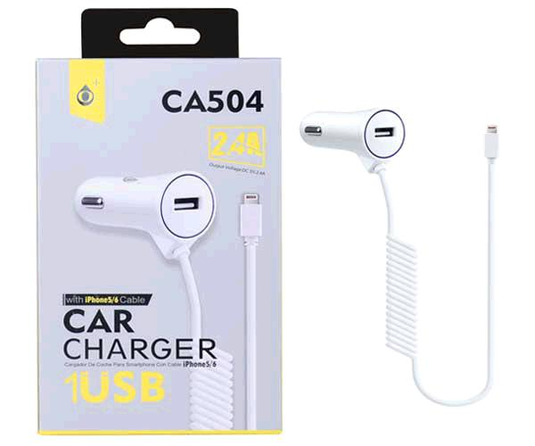 Cargador mechero iPhone 5/6/7 + USB ca504 blanco