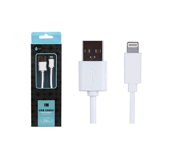 CABLE DATOS IPHONE 5/6/7 ALTA CALIDAD 1M ONE+ AA101 BLANCO