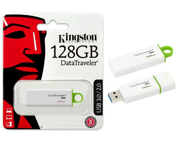 Pendrive Kingston dti g4 128Gb USB 3.0 blanco / Verde