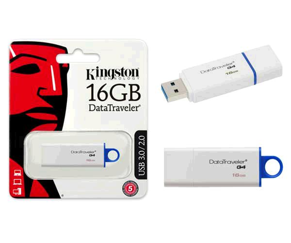 PENDRIVE KINGSTON DTI G4 16GB USB 3.0 BLANCO / AZUL