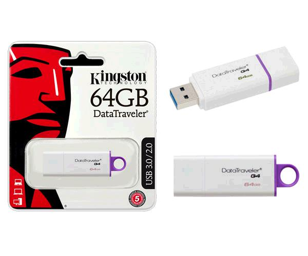 Pendrive Kingston dti g4 64Gb USB 3.0 blanco / violeta