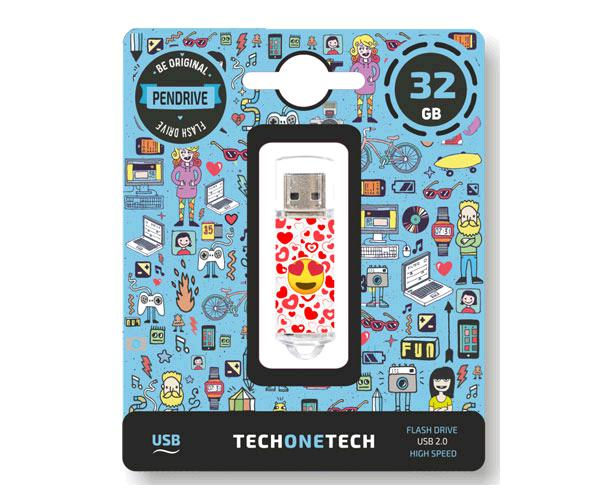 Pendrive animado emojitech heart-eyes USB 2.0 32Gb