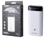 Power bank d2342 pandas 15000mah con display 2xUSB 1a blanco  ONE+